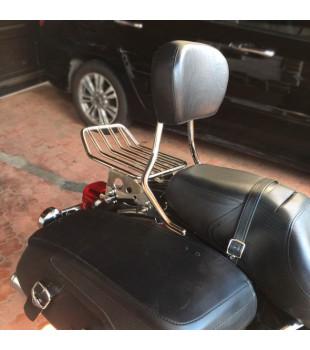 Sissy Bar Destacável King Low Confort com Bagageiro - Harley-Davidson linha Touring - 16 Polegadas - Inox Polido