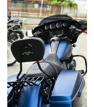 Sissy Bar Destacável King Low Confort com Bagageiro - Harley-Davidson Linha Touring - 16 polegadas - Preto